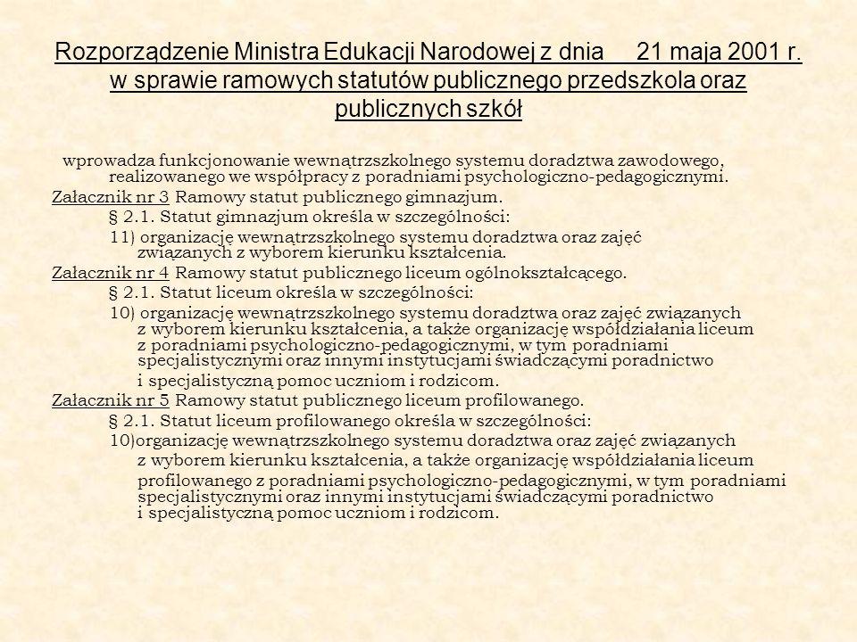 Rozporządzenie Ministra Edukacji Narodowej z dnia 21 maja 2001 r. w sprawie ramowych statutów publicznego przedszkola oraz publicznych szkół wprowadza