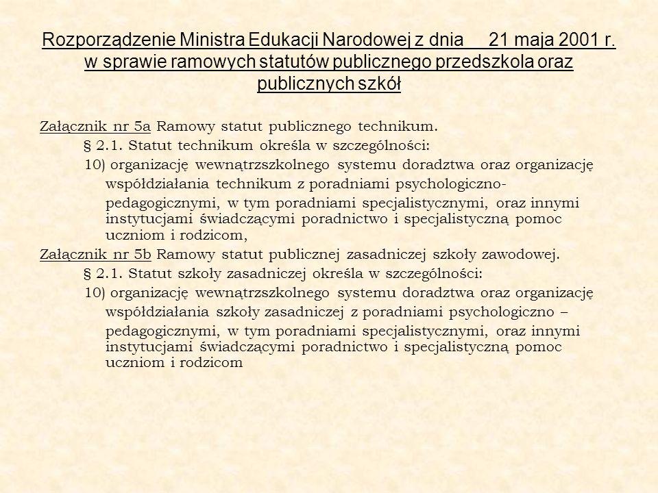 Rozporządzenie Ministra Edukacji Narodowej z dnia 21 maja 2001 r. w sprawie ramowych statutów publicznego przedszkola oraz publicznych szkół Załącznik