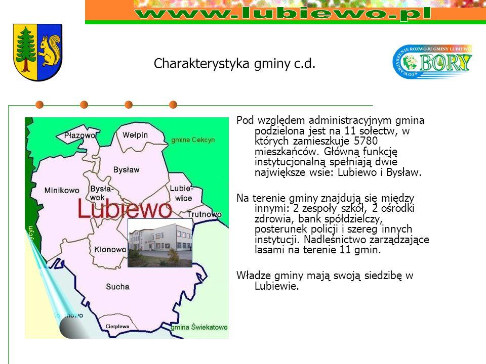 Charakterystyka gminy c.d. Pod względem administracyjnym gmina podzielona jest na 11 sołectw, w których zamieszkuje 5780 mieszkańców. Główną funkcję i