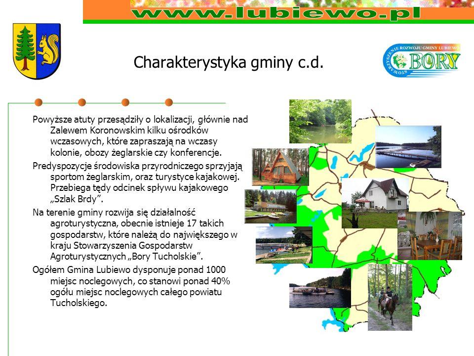 Charakterystyka gminy c.d. Powyższe atuty przesądziły o lokalizacji, głównie nad Zalewem Koronowskim kilku ośrodków wczasowych, które zapraszają na wc