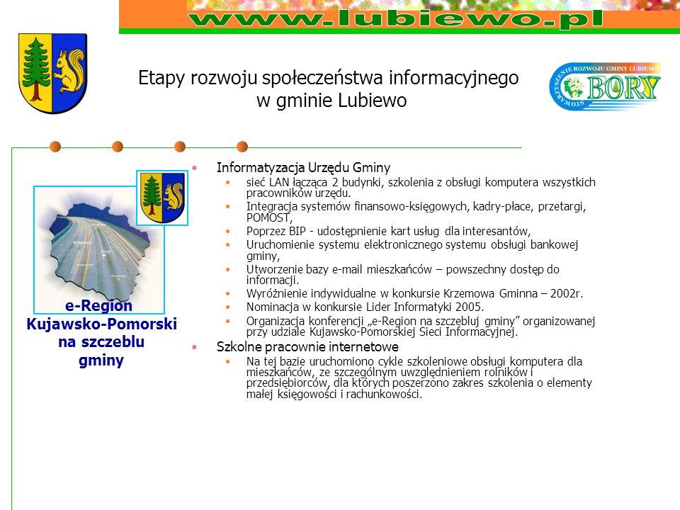 Etapy rozwoju społeczeństwa informacyjnego w gminie Lubiewo Informatyzacja Urzędu Gminy sieć LAN łącząca 2 budynki, szkolenia z obsługi komputera wszystkich pracowników urzędu.