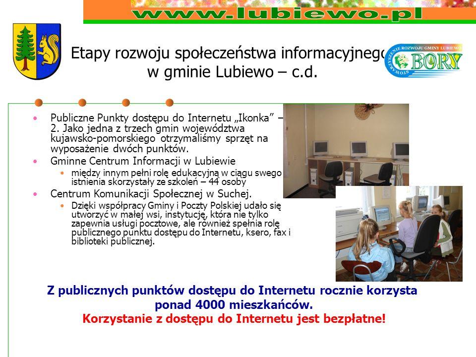 Etapy rozwoju społeczeństwa informacyjnego w gminie Lubiewo – c.d. Publiczne Punkty dostępu do Internetu Ikonka – 2. Jako jedna z trzech gmin wojewódz