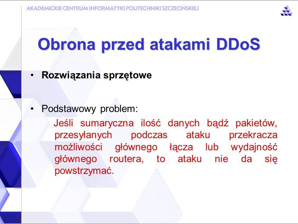 Obrona przed atakami DDoS Rozwiązania manualne Śledzenie wykorzystania łączy Sprawdzanie wydajności sieci Monitorowanie poszczególnych urządzeń Współpraca pomiędzy administratorami sieci JENNIE – oprogramowanie do wspomagania manualnego wykrywania ataków DDoS