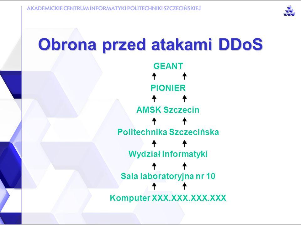 Obrona przed atakami DDoS Najczęstsze cechy ataków Na konkretny adres IP Z kilkudziesięciu źródłowych adresów IP Niewiele cech losowych Ruch rzadko przekracza 200 Mbps Najdłuższe ataki trwają kilka godzin Zwykle ofiara w jakiś sposób zawiniła (np.