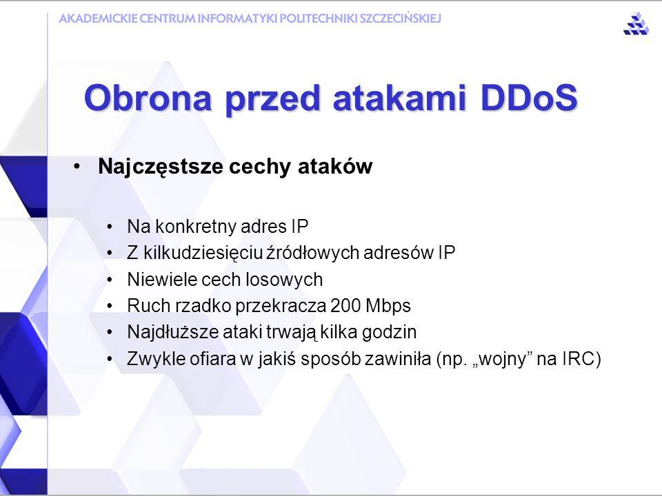 Obrona przed atakami DDoS Ataki DDoS nie stanowią poważnego problemu w sieci PIONIER Duża przepustowość łączy Dobra współpraca administratorów czas reakcji to kilkadziesiąt minut Filtry uniemożliwiające spoofowanie