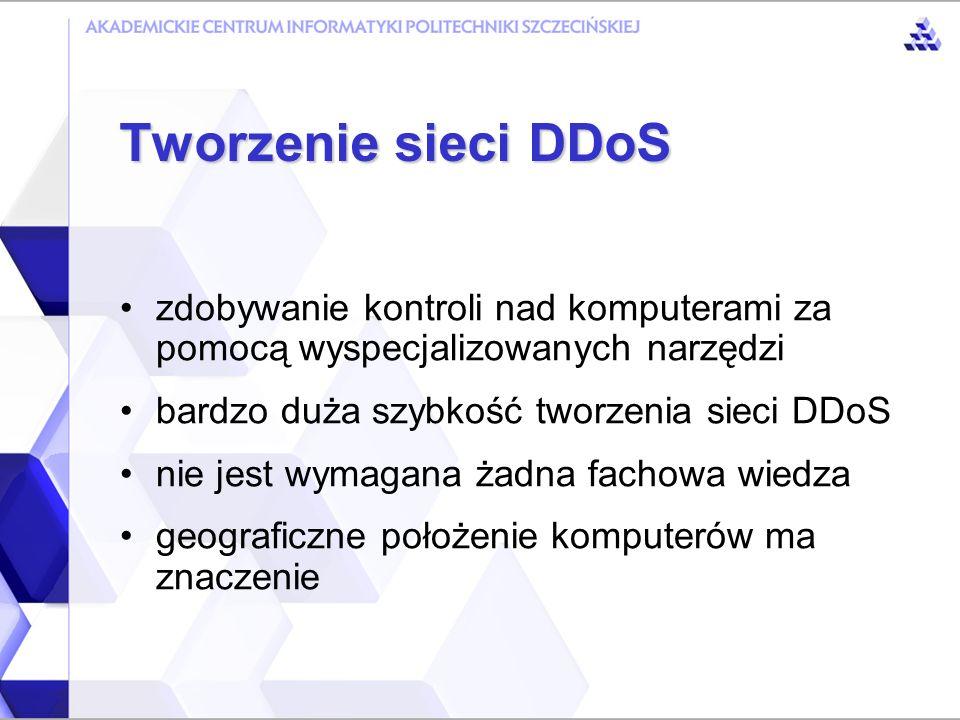 aktualizacja aplikacji oraz systemu wykorzystanie oprogramowania personal firewall okresowy audyt zabezpieczeń systemu analiza pakietów wychodzących z sieci filtrowanie adresów nierutowalnych wykorzystywanie systemów IDS blokowanie pakietów z adresem broadcast Obrona przed atakami DDoS