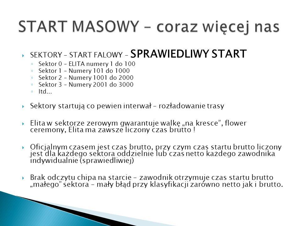 SEKTORY – START FALOWY – SPRAWIEDLIWY START Sektor 0 – ELITA numery 1 do 100 Sektor 1 – Numery 101 do 1000 Sektor 2 – Numery 1001 do 2000 Sektor 3 – Numery 2001 do 3000 Itd...