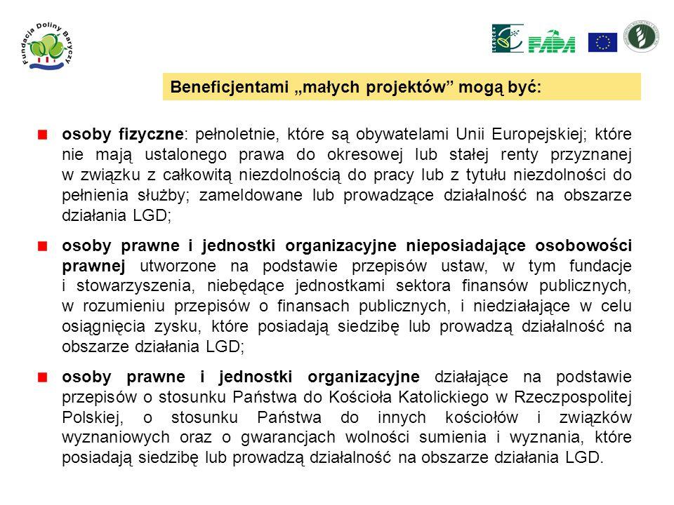 Beneficjentami małych projektów mogą być: osoby fizyczne: pełnoletnie, które są obywatelami Unii Europejskiej; które nie mają ustalonego prawa do okre