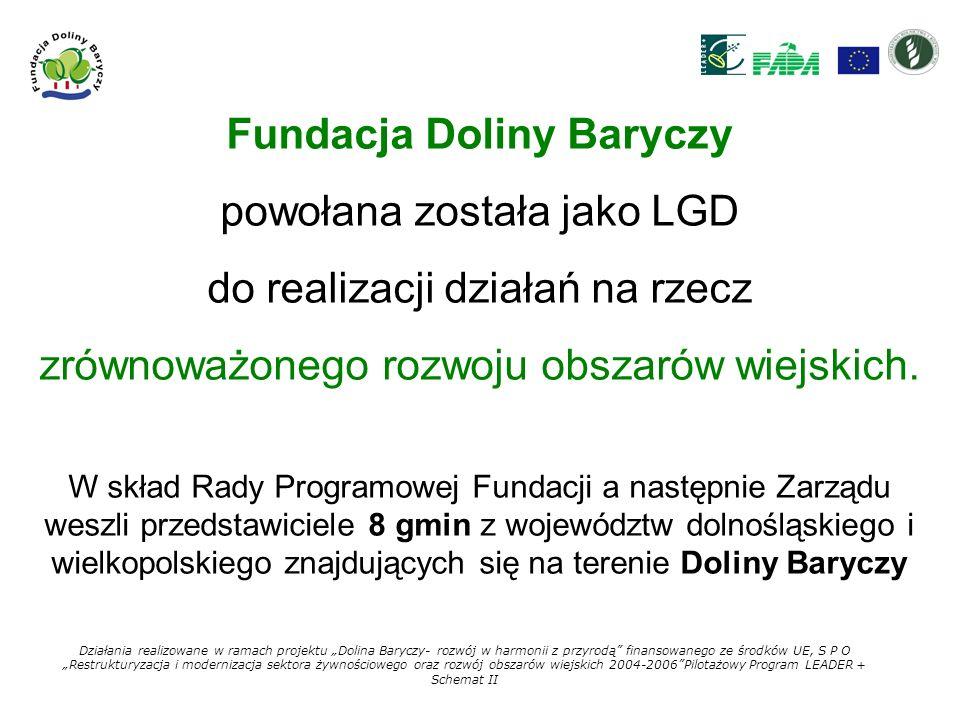 Terenem działania Fundacji Doliny Baryczy są gminy: MILICZ KROŚNICE TWARDOGÓRA ODOLANÓW CIESZKÓW ŻMIGRÓD SOŚNIE PRZYGODZICE