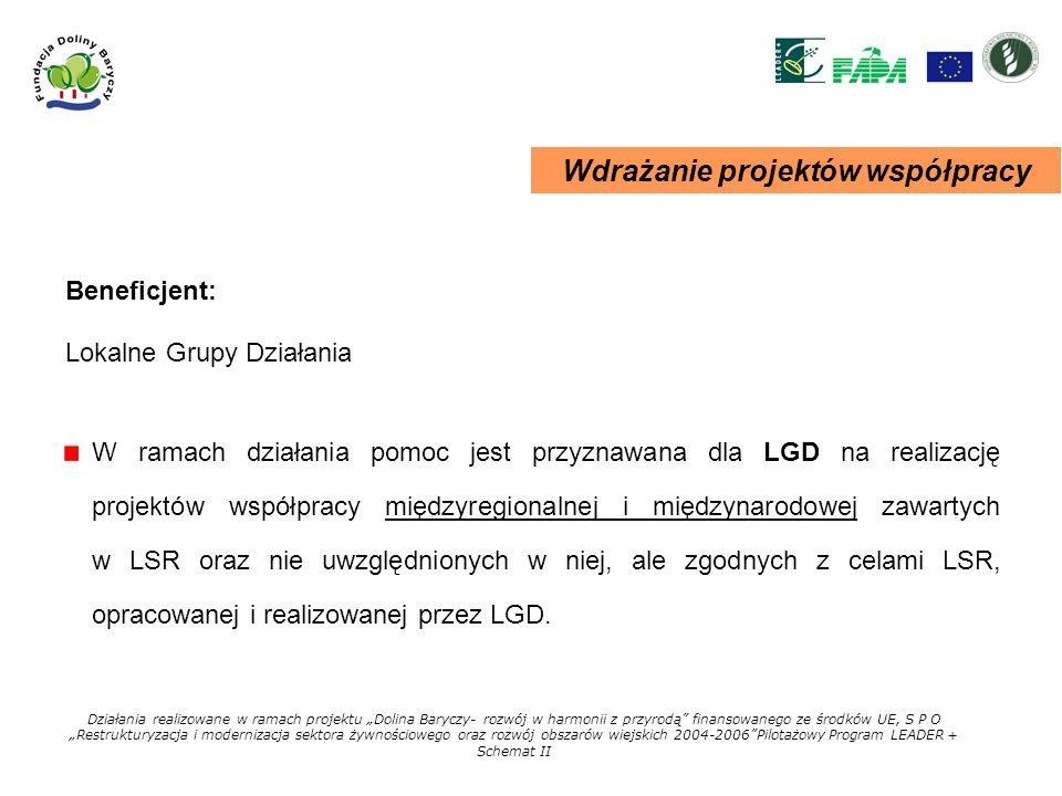 Wdrażanie projektów współpracy W ramach działania pomoc jest przyznawana dla LGD na realizację projektów współpracy międzyregionalnej i międzynarodowe