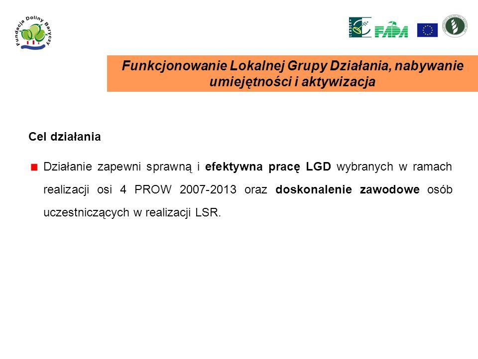 Funkcjonowanie Lokalnej Grupy Działania, nabywanie umiejętności i aktywizacja Działanie zapewni sprawną i efektywna pracę LGD wybranych w ramach reali