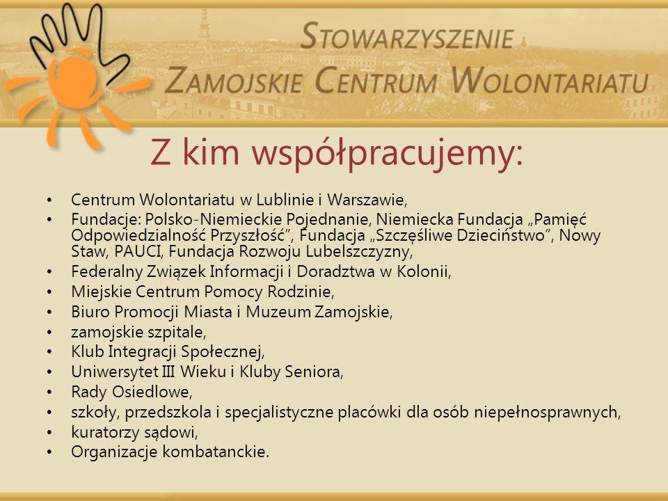 Z kim współpracujemy: Centrum Wolontariatu w Lublinie i Warszawie, Fundacje: Polsko-Niemieckie Pojednanie, Niemiecka Fundacja Pamięć Odpowiedzialność