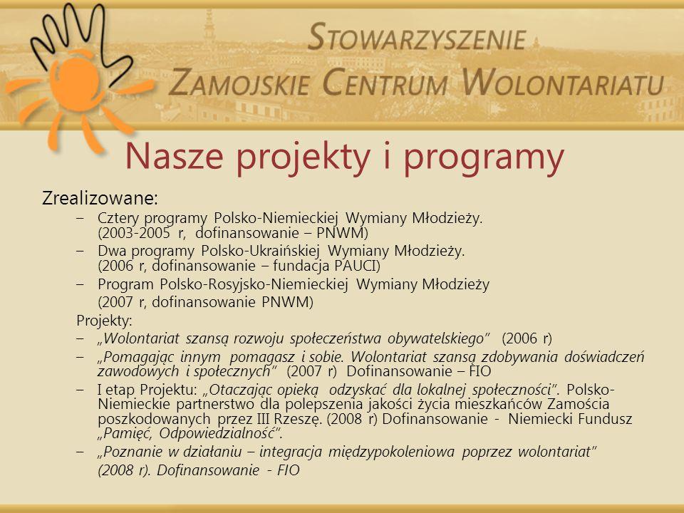 Nasze projekty i programy Zrealizowane: –Cztery programy Polsko-Niemieckiej Wymiany Młodzieży. (2003-2005 r, dofinansowanie – PNWM) –Dwa programy Pols