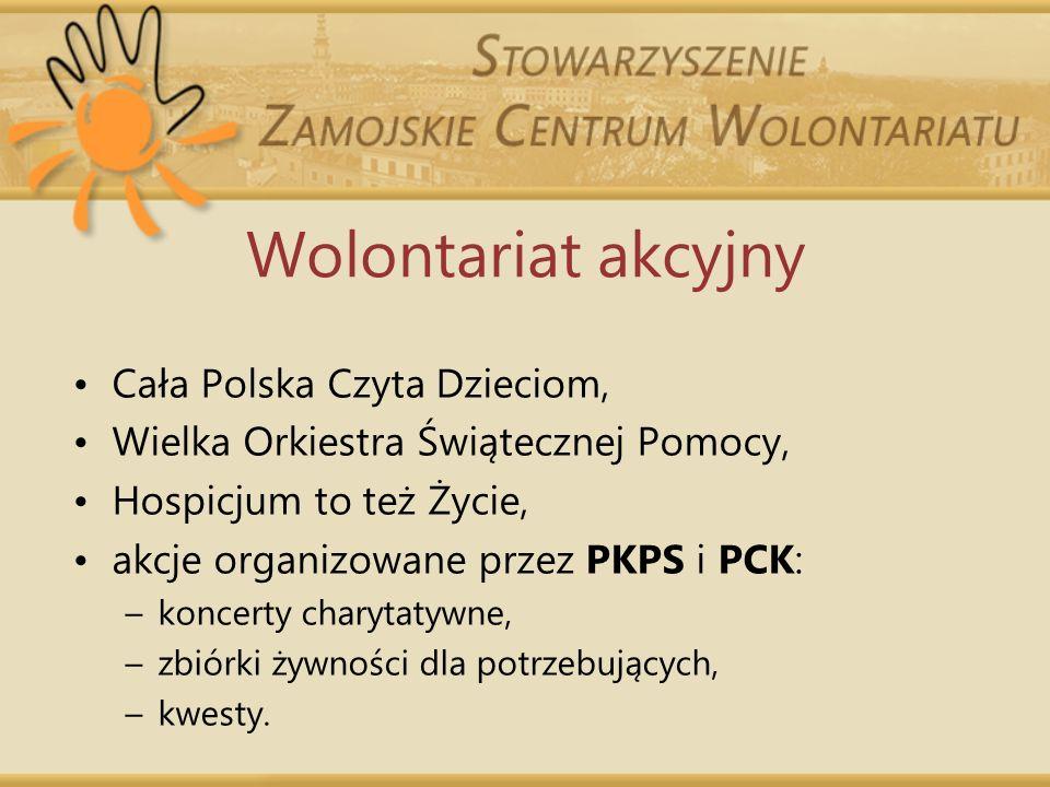 Wolontariat akcyjny Cała Polska Czyta Dzieciom, Wielka Orkiestra Świątecznej Pomocy, Hospicjum to też Życie, akcje organizowane przez PKPS i PCK: –kon