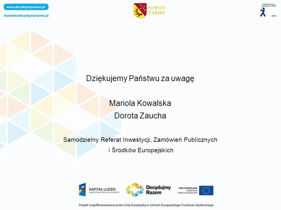 Dziękujemy Państwu za uwagę Mariola Kowalska Dorota Zaucha Samodzielny Referat Inwestycji, Zamówień Publicznych i Środków Europejskich