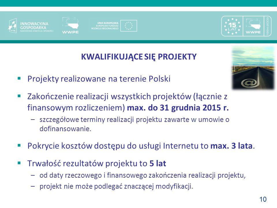10 KWALIFIKUJĄCE SIĘ PROJEKTY Projekty realizowane na terenie Polski Zakończenie realizacji wszystkich projektów (łącznie z finansowym rozliczeniem) m