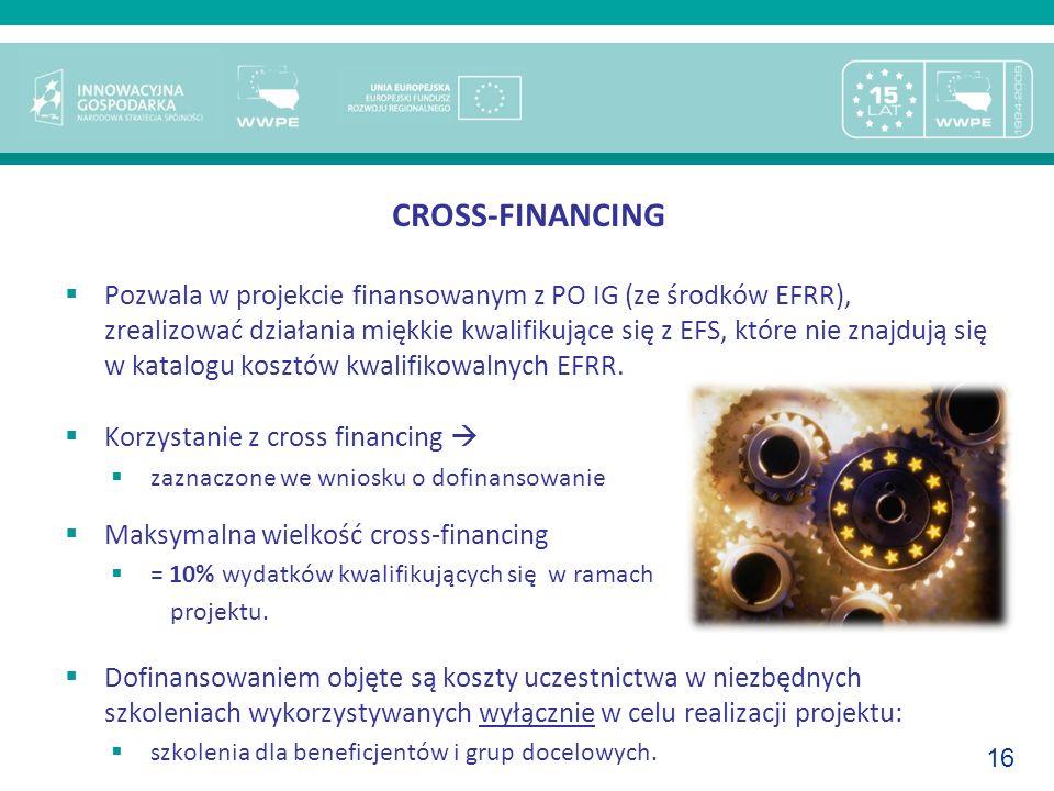 16 CROSS-FINANCING Pozwala w projekcie finansowanym z PO IG (ze środków EFRR), zrealizować działania miękkie kwalifikujące się z EFS, które nie znajdu