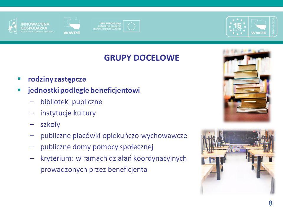 8 GRUPY DOCELOWE rodziny zastępcze jednostki podległe beneficjentowi –biblioteki publiczne –instytucje kultury –szkoły –publiczne placówki opiekuńczo-