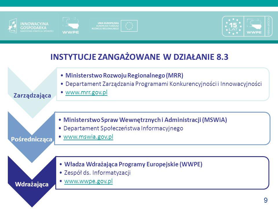 9 INSTYTUCJE ZANGAŻOWANE W DZIAŁANIE 8.3 Zarządzająca Ministerstwo Rozwoju Regionalnego (MRR) Departament Zarządzania Programami Konkurencyjności i In