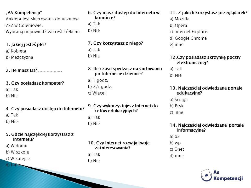 AS Kompetencji Ankieta jest skierowana do uczniów ZSZ w Goleniowie. Wybraną odpowiedź zakreśl kółkiem. 1. Jakiej jesteś płci? a) Kobieta b) Mężczyzna