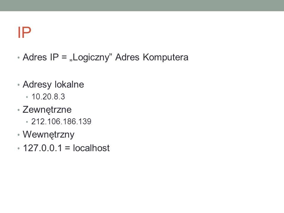 IP Adres IP = Logiczny Adres Komputera Adresy lokalne 10.20.8.3 Zewnętrzne 212.106.186.139 Wewnętrzny 127.0.0.1 = localhost
