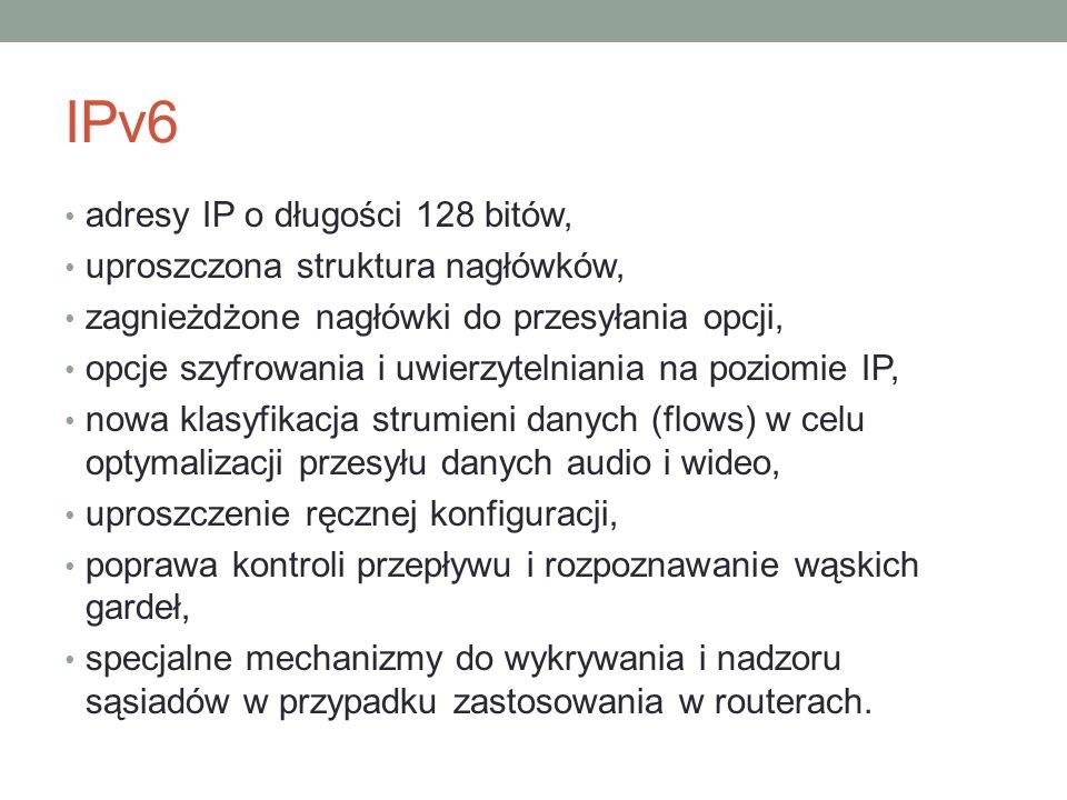 IPv6 adresy IP o długości 128 bitów, uproszczona struktura nagłówków, zagnieżdżone nagłówki do przesyłania opcji, opcje szyfrowania i uwierzytelniania