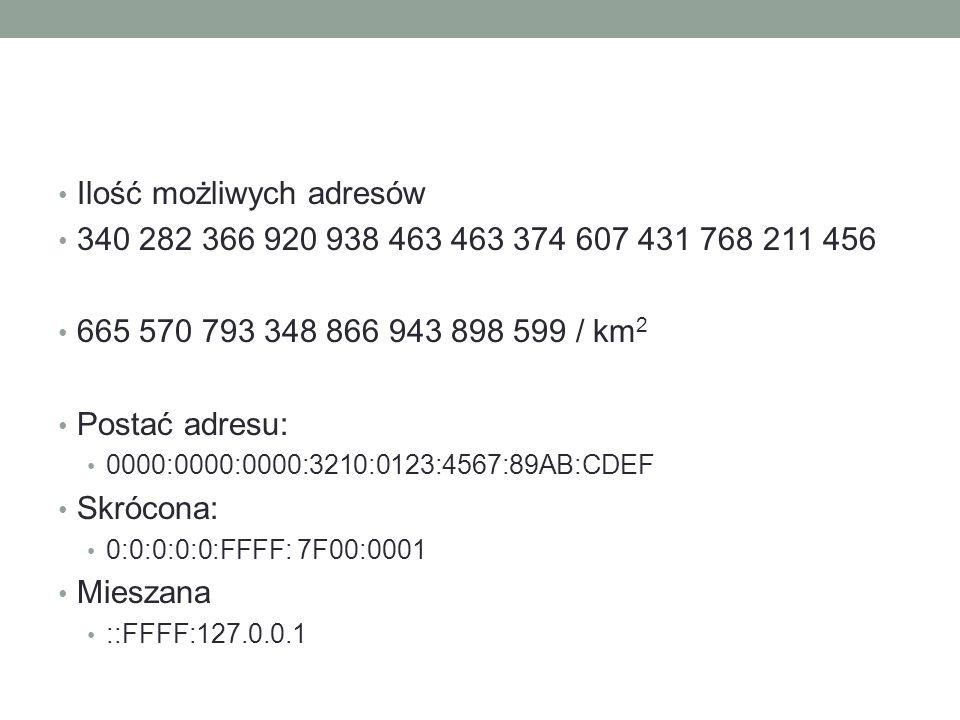 Ilość możliwych adresów 340 282 366 920 938 463 463 374 607 431 768 211 456 665 570 793 348 866 943 898 599 / km 2 Postać adresu: 0000:0000:0000:3210: