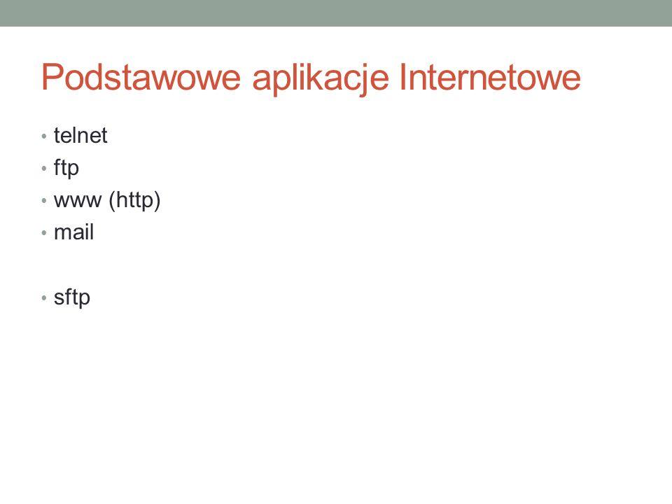 Podstawowe aplikacje Internetowe telnet ftp www (http) mail sftp