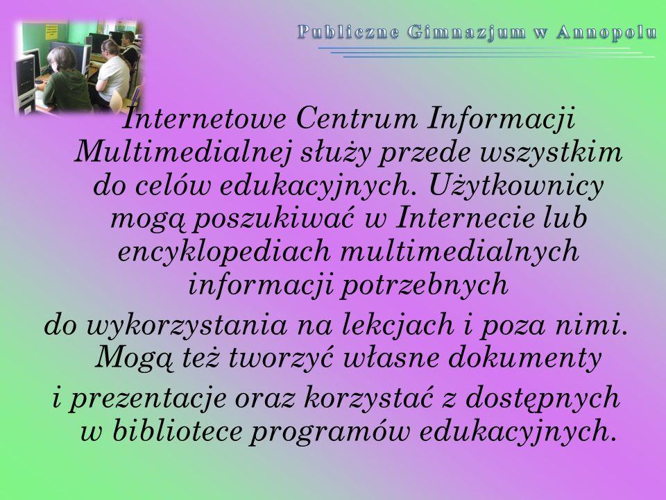 Internetowe Centrum Informacji Multimedialnej służy przede wszystkim do celów edukacyjnych. Użytkownicy mogą poszukiwać w Internecie lub encyklopediac