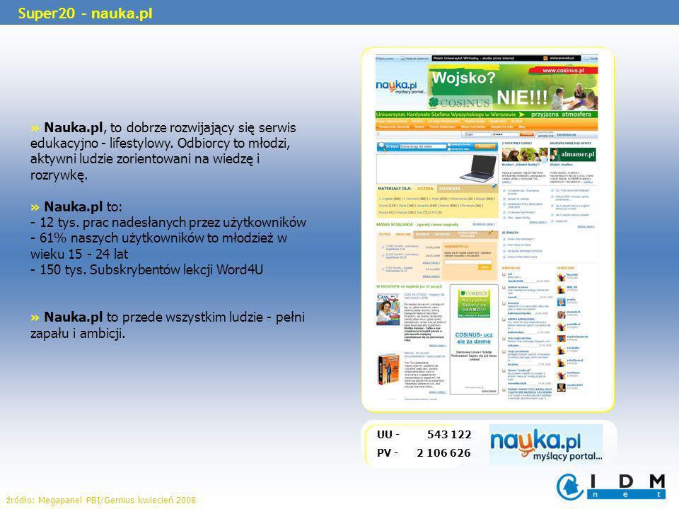 Super20 – nauka.pl UU - 543 122 PV - 2 106 626 źródło: Megapanel PBI/Gemius kwiecień 2008 » Nauka.pl, to dobrze rozwijający się serwis edukacyjno - li