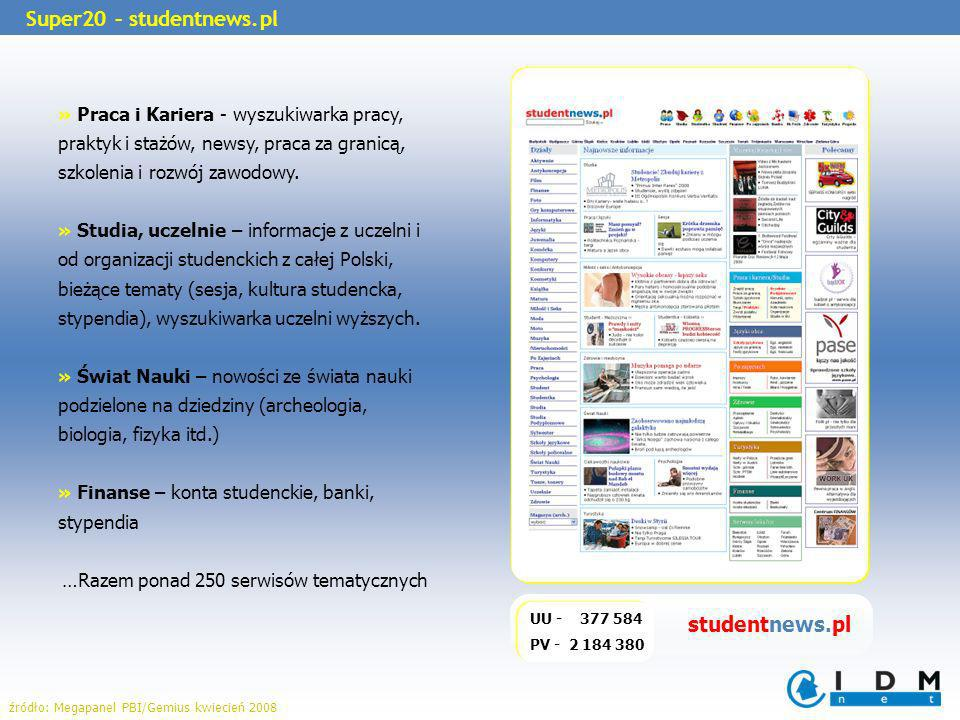 UU - 377 584 PV - 2 184 380 Super20 – studentnews.pl » Praca i Kariera - wyszukiwarka pracy, praktyk i stażów, newsy, praca za granicą, szkolenia i rozwój zawodowy.