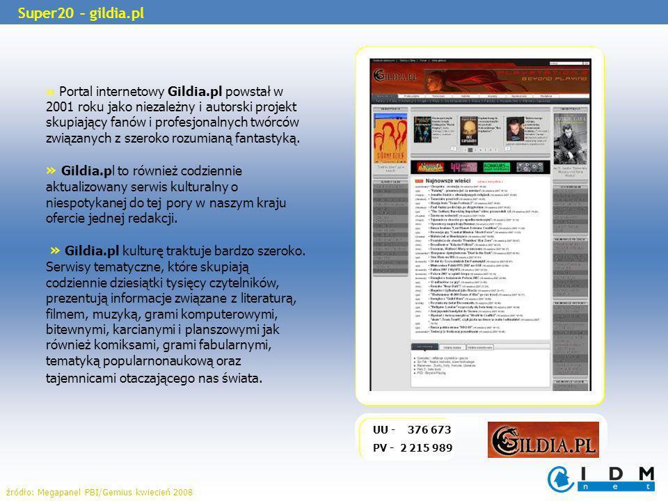 » Portal internetowy Gildia.pl powstał w 2001 roku jako niezależny i autorski projekt skupiający fanów i profesjonalnych twórców związanych z szeroko