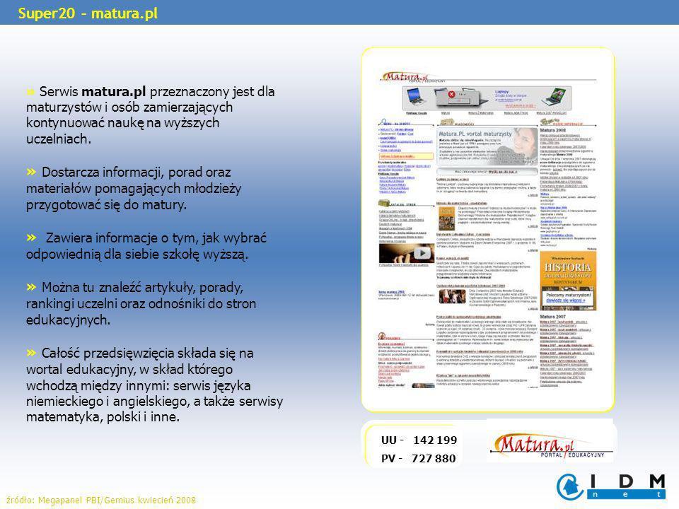 » Serwis matura.pl przeznaczony jest dla maturzystów i osób zamierzających kontynuować naukę na wyższych uczelniach.