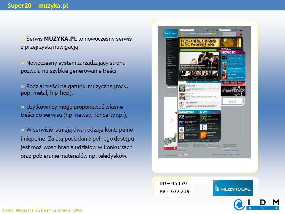» Serwis MUZYKA.PL to nowoczesny serwis z przejrzystą nawigacją » Nowoczesny system zarządzający stroną pozwala na szybkie generowanie treści » Podział treści na gatunki muzyczne (rock, pop, metal, hip-hop), » Użytkownicy mogą proponować własne treści do serwisu (np.