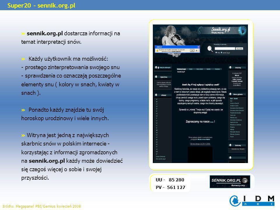 UU - 85 280 PV - 561 127 Super20 – sennik.org.pl » sennik.org.pl dostarcza informacji na temat interpretacji snów. » Każdy użytkownik ma możliwość: -