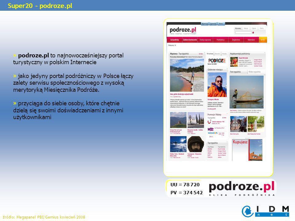 UU = 78 720 PV = 374 542 » podroze.pl to najnowocześniejszy portal turystyczny w polskim Internecie » jako jedyny portal podróżniczy w Polsce łączy zalety serwisu społecznościowego z wysoką merytoryką Miesięcznika Podróże.