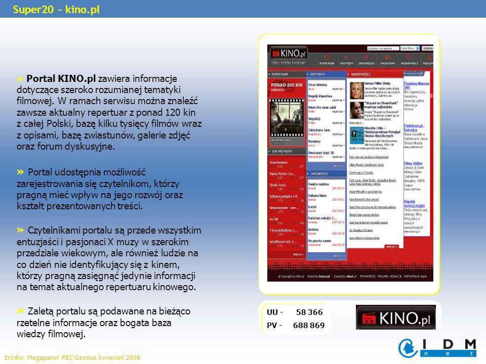 » Portal KINO.pl zawiera informacje dotyczące szeroko rozumianej tematyki filmowej. W ramach serwisu można znaleźć zawsze aktualny repertuar z ponad 1