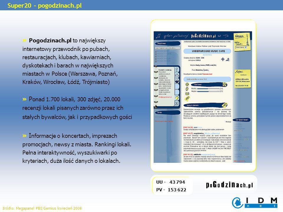 UU - 43 794 PV - 153 622 Super20 – pogodzinach.pl » Pogodzinach.pl to największy internetowy przewodnik po pubach, restauracjach, klubach, kawiarniach