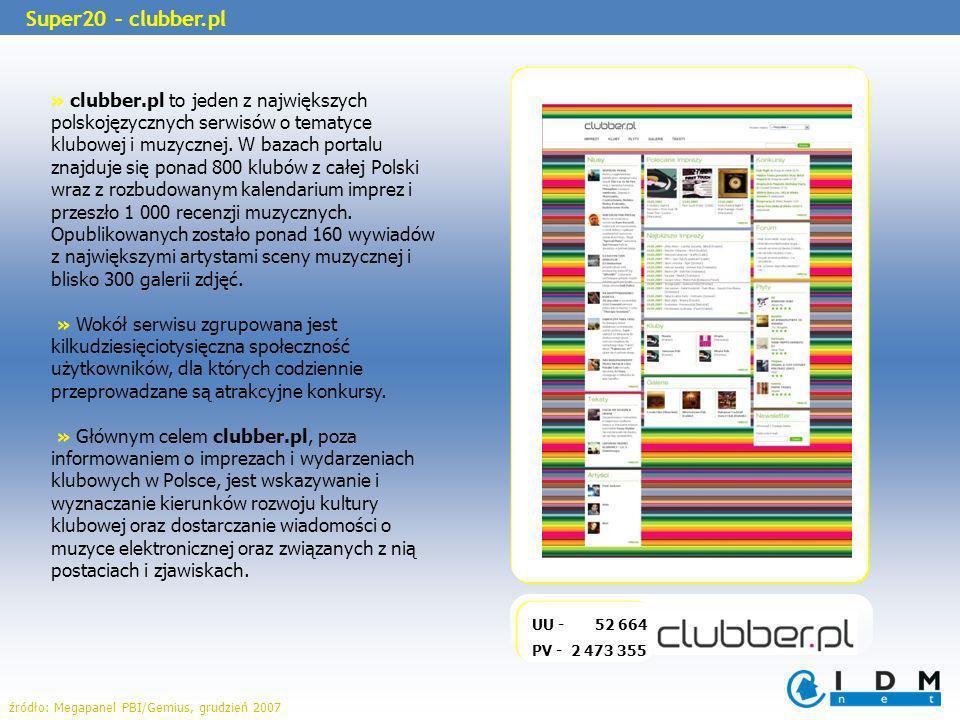 » clubber.pl to jeden z największych polskojęzycznych serwisów o tematyce klubowej i muzycznej. W bazach portalu znajduje się ponad 800 klubów z całej