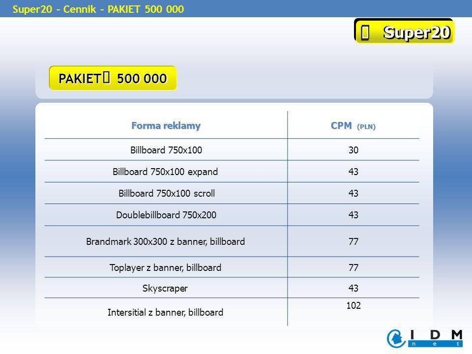 Super20 Super20 Super20 – Cennik – PAKIET 500 000 Forma reklamy CPM (PLN) Billboard 750x10030 Billboard 750x100 expand43 Billboard 750x100 scroll43 Do