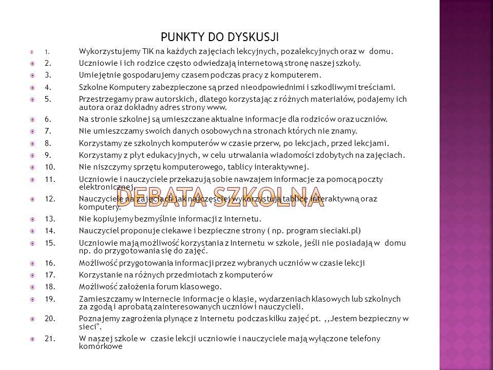 PUNKTY DO DYSKUSJI 1.