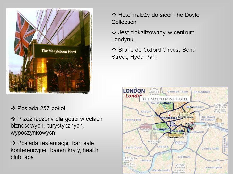 Hotel należy do sieci The Doyle Collection Jest zlokalizowany w centrum Londynu, Blisko do Oxford Circus, Bond Street, Hyde Park, Posiada 257 pokoi, P