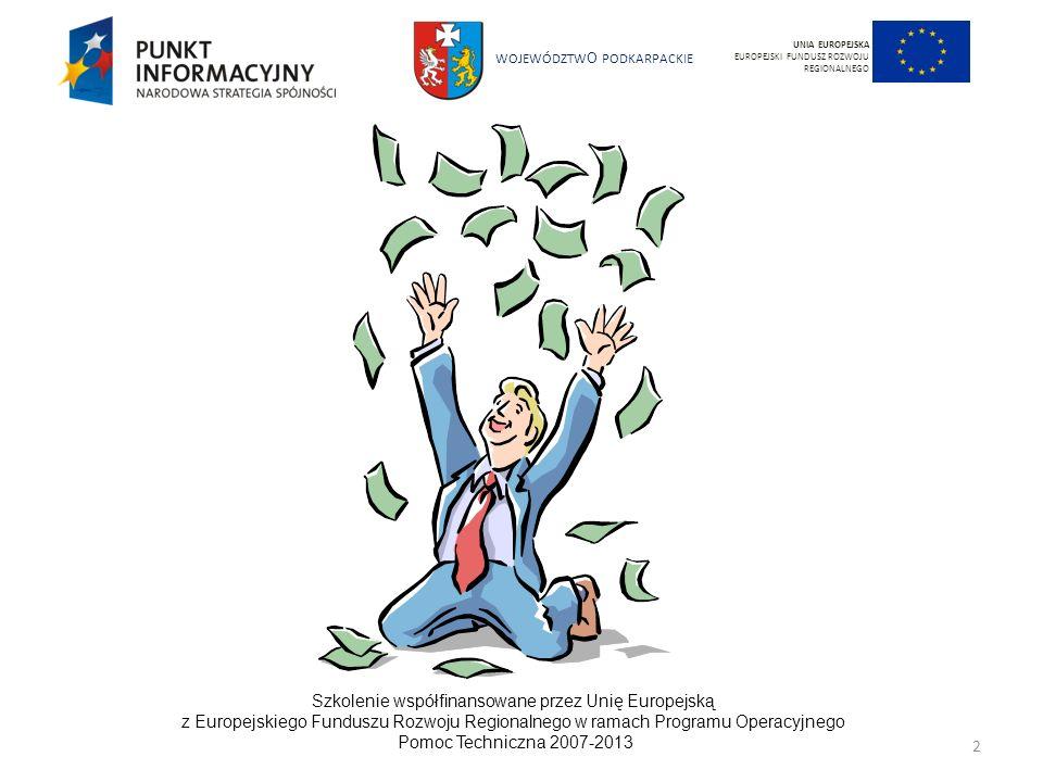WOJEWÓDZTW O PODKARPACKIE Szkolenie współfinansowane przez Unię Europejską z Europejskiego Funduszu Rozwoju Regionalnego w ramach Programu Operacyjnego Pomoc Techniczna 2007-2013 33 UNIA EUROPEJSKA EUROPEJSKI FUNDUSZ ROZWOJU REGIONALNEGO Fundusze strukturalne Unii Europejskiej: odgrywają istotną rolę w zwalczaniu dyskryminacji kobiet i mężczyzn dają ekonomiczną zachętę dla włączania perspektywy równości płci do realizowanych projektów