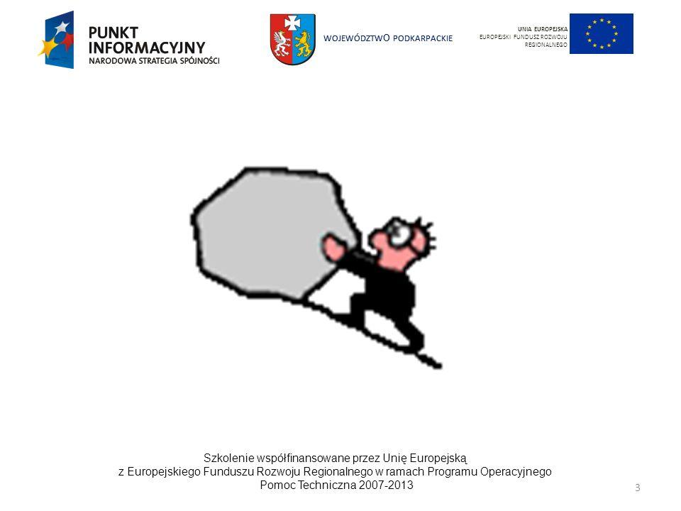 WOJEWÓDZTW O PODKARPACKIE Szkolenie współfinansowane przez Unię Europejską z Europejskiego Funduszu Rozwoju Regionalnego w ramach Programu Operacyjnego Pomoc Techniczna 2007-2013 14 UNIA EUROPEJSKA EUROPEJSKI FUNDUSZ ROZWOJU REGIONALNEGO Strategiczne Wytyczne Wspólnoty Trzy podstawowe priorytety nowej polityki spójności: – Poprawa atrakcyjności miast i regionów UE poprzez zwiększanie dostępności, zapewnianie odpowiedniej jakości usług oraz inwestycje w potencjał regionalny i środowiskowy – Promowanie innowacji, przedsiębiorczości i rozwój gospodarki opartej na wiedzy poprzez prace badawczo-rozwojowe oraz technologie informacyjne i komunikacyjne – Tworzenie miejsc pracy