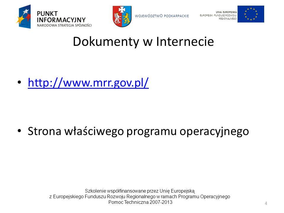 WOJEWÓDZTW O PODKARPACKIE Szkolenie współfinansowane przez Unię Europejską z Europejskiego Funduszu Rozwoju Regionalnego w ramach Programu Operacyjnego Pomoc Techniczna 2007-2013 5 UNIA EUROPEJSKA EUROPEJSKI FUNDUSZ ROZWOJU REGIONALNEGO Archiwizacja 2007-2013 Beneficjent jest zobowiązany do przechowywania dokumentacji związanej z realizacją projektu do 31 grudnia 20??r.