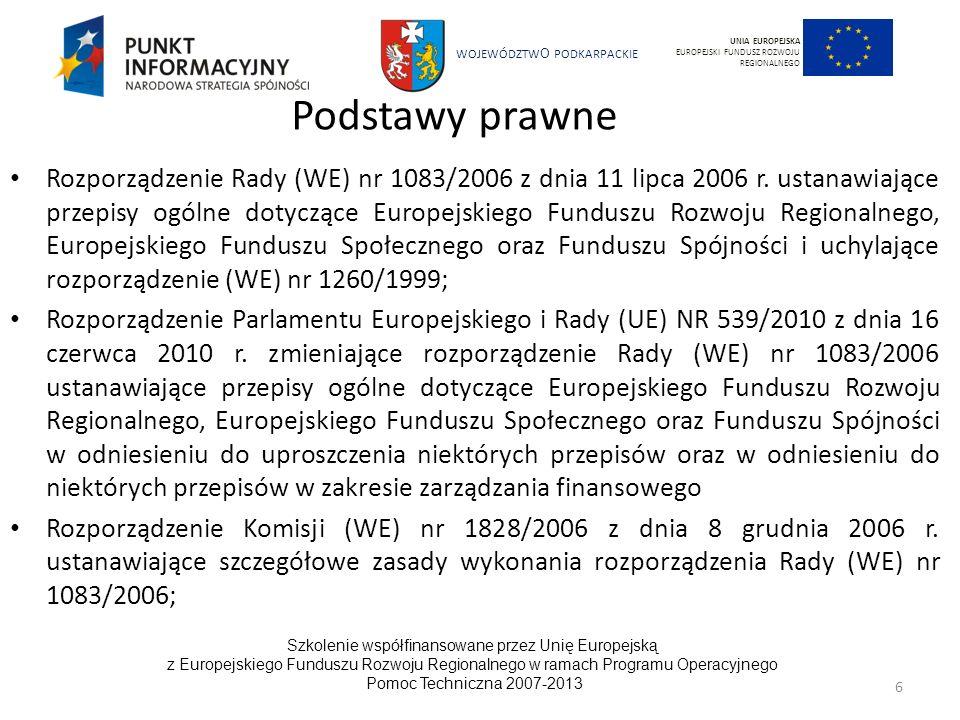WOJEWÓDZTW O PODKARPACKIE Szkolenie współfinansowane przez Unię Europejską z Europejskiego Funduszu Rozwoju Regionalnego w ramach Programu Operacyjnego Pomoc Techniczna 2007-2013 57 UNIA EUROPEJSKA EUROPEJSKI FUNDUSZ ROZWOJU REGIONALNEGO Gospodarka odpadami – zrównoważony rozwój środowiskowy Zmniejszenie produkcji i negatywnego wpływu odpadów, w szczególności poprzez zastosowanie i rozwój czystych technologii; Zapewnienie stosownych procesów ponownego wykorzystania, recyklingu, odzyskiwania i usuwania wytwarzanych odpadów; Wdrożenie zintegrowanych systemów gospodarki odpadami Stopniowe oddzielanie głównych strumieni produkcji odpadów (odpady z gospodarstw domowych, odpady pochodzące z działalności handlowej, usługowej, produkcyjnej, rolniczej); Wykorzystywanie odpadów jako paliwa alternatywnego; Ponowne wykorzystania zużytych materiałów w celu ograniczenia zużycia surowców; Ograniczanie składowania na wysypiskach jako sposobu gospodarowania odpadami.