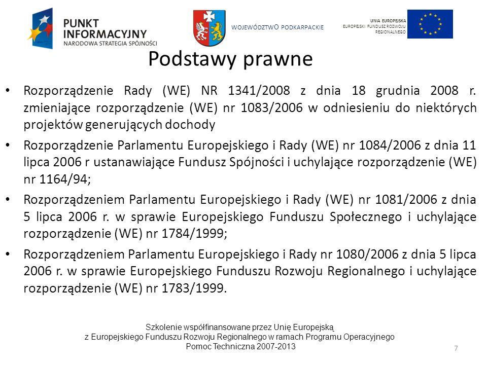 WOJEWÓDZTW O PODKARPACKIE Szkolenie współfinansowane przez Unię Europejską z Europejskiego Funduszu Rozwoju Regionalnego w ramach Programu Operacyjnego Pomoc Techniczna 2007-2013 28 UNIA EUROPEJSKA EUROPEJSKI FUNDUSZ ROZWOJU REGIONALNEGO CEL DŁUGOTERMINOWY Jeżeli mamy utrzymać wzrost gospodarczy musimy zrobić to w sposób, który respektuje sprawiedliwość społeczną, promuje równość oraz stara się chronić i ulepszać środowisko naturalne dla przyszłych pokoleń