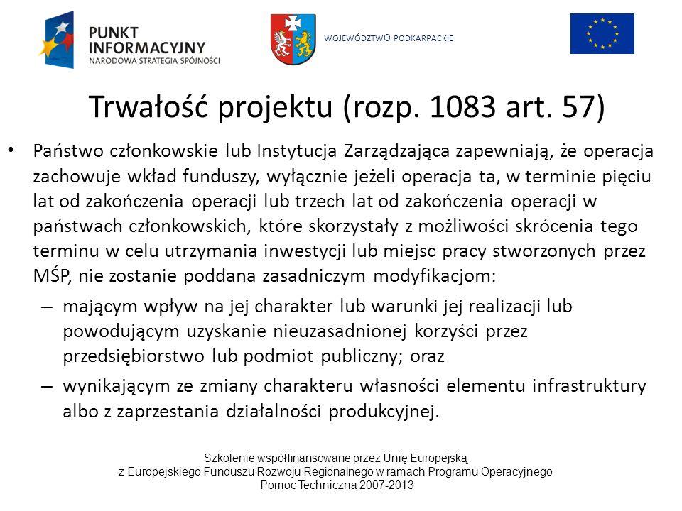 WOJEWÓDZTW O PODKARPACKIE Szkolenie współfinansowane przez Unię Europejską z Europejskiego Funduszu Rozwoju Regionalnego w ramach Programu Operacyjnego Pomoc Techniczna 2007-2013 19 UNIA EUROPEJSKA EUROPEJSKI FUNDUSZ ROZWOJU REGIONALNEGO Zrównoważony rozwój Utrzymanie wysokiego i stabilnego poziomu wzrostu gospodarczego oraz zatrudnienia Rozwój społeczny odpowiadający potrzebom wszystkich osób Efektywna ochrona środowiska i rozważne wykorzystanie zasobów naturalnych