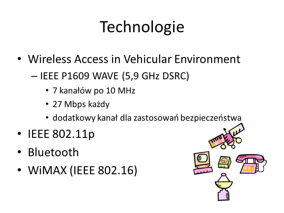 Technologie Wireless Access in Vehicular Environment – IEEE P1609 WAVE (5,9 GHz DSRC) 7 kanałów po 10 MHz 27 Mbps każdy dodatkowy kanał dla zastosowań