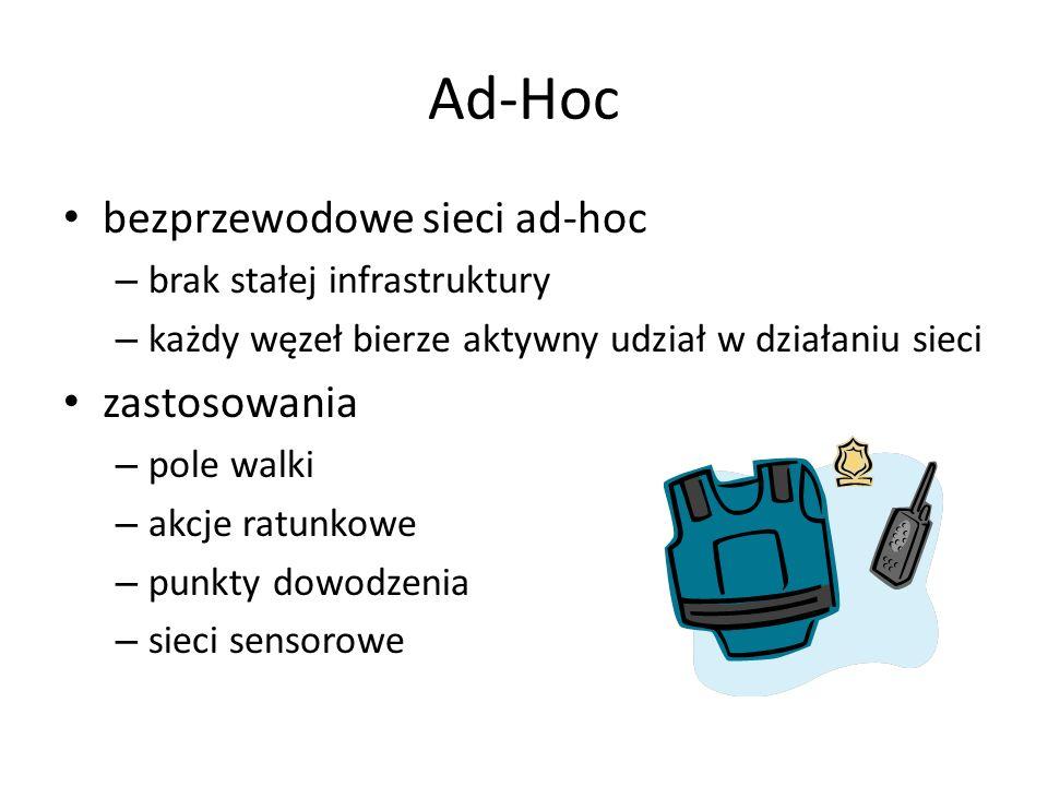 Ad-Hoc bezprzewodowe sieci ad-hoc – brak stałej infrastruktury – każdy węzeł bierze aktywny udział w działaniu sieci zastosowania – pole walki – akcje